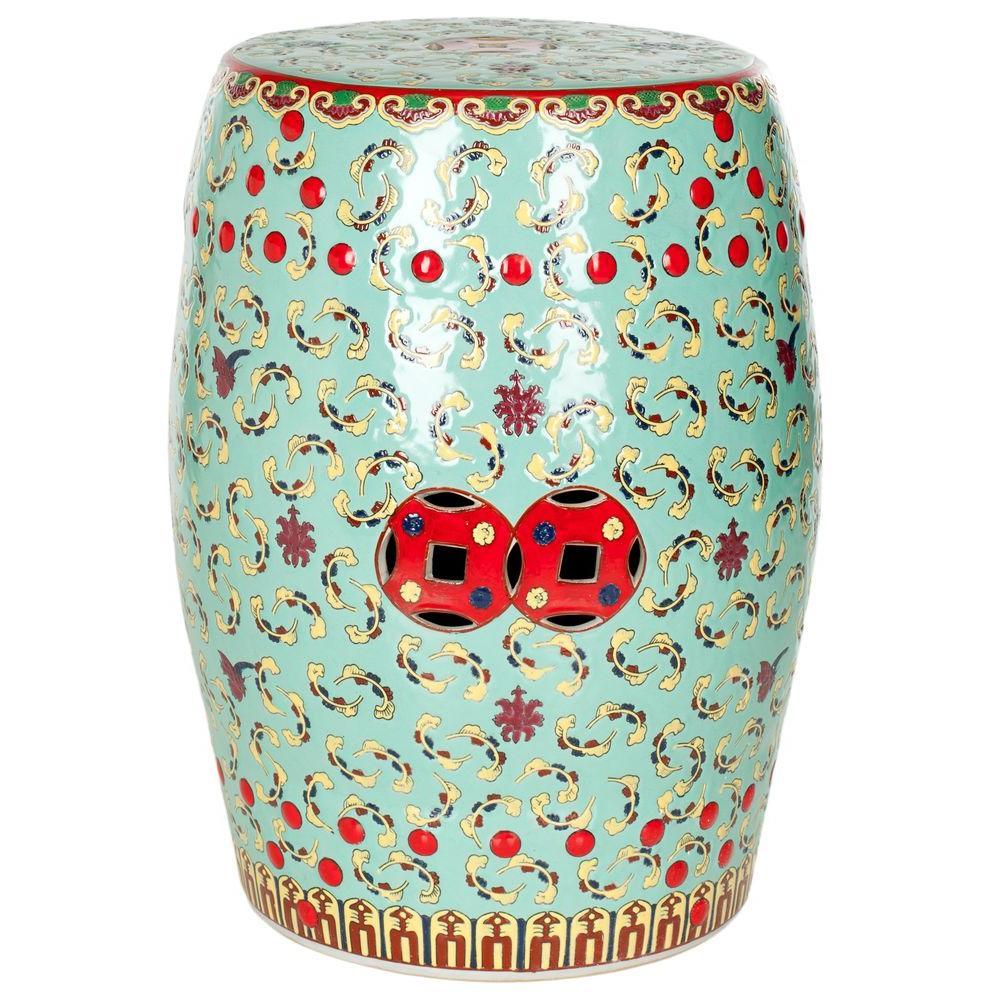 Safavieh Red/Green Ceramic Floral Patio Stool