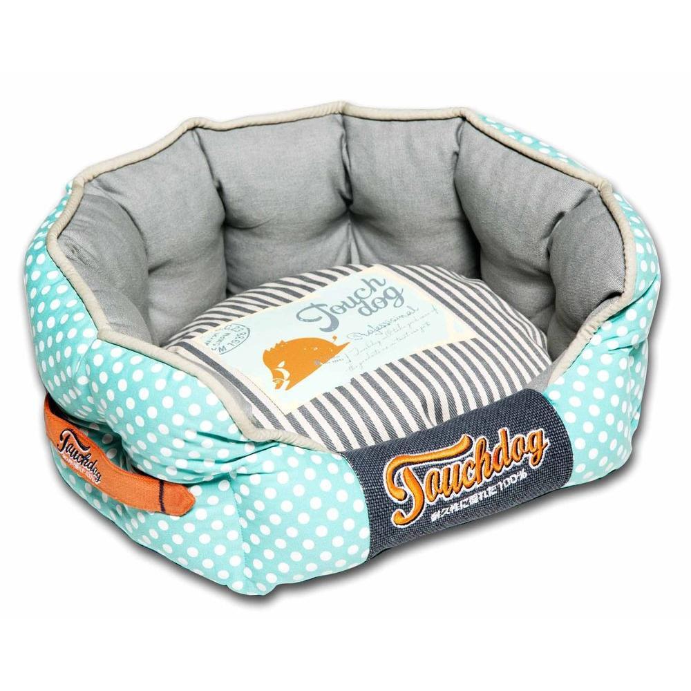 Touchdog Medium Baby Blue and Steel Grey Bed