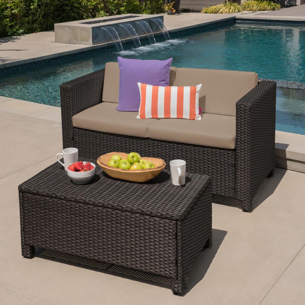 Maverick Dark Brown 2-Piece Wicker Patio Conversation Set with Beige Cushions