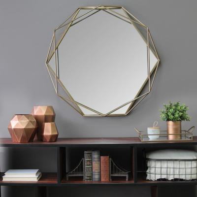 Medium Round Gold Contemporary Mirror (31.5 in. H x 29.53 in. W)