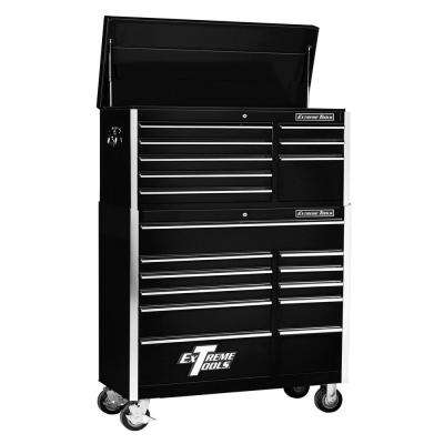 EX Standard Series 41 in. 8-Drawer Top Chest and 11-Drawer Roller Cabinet Combo, Black