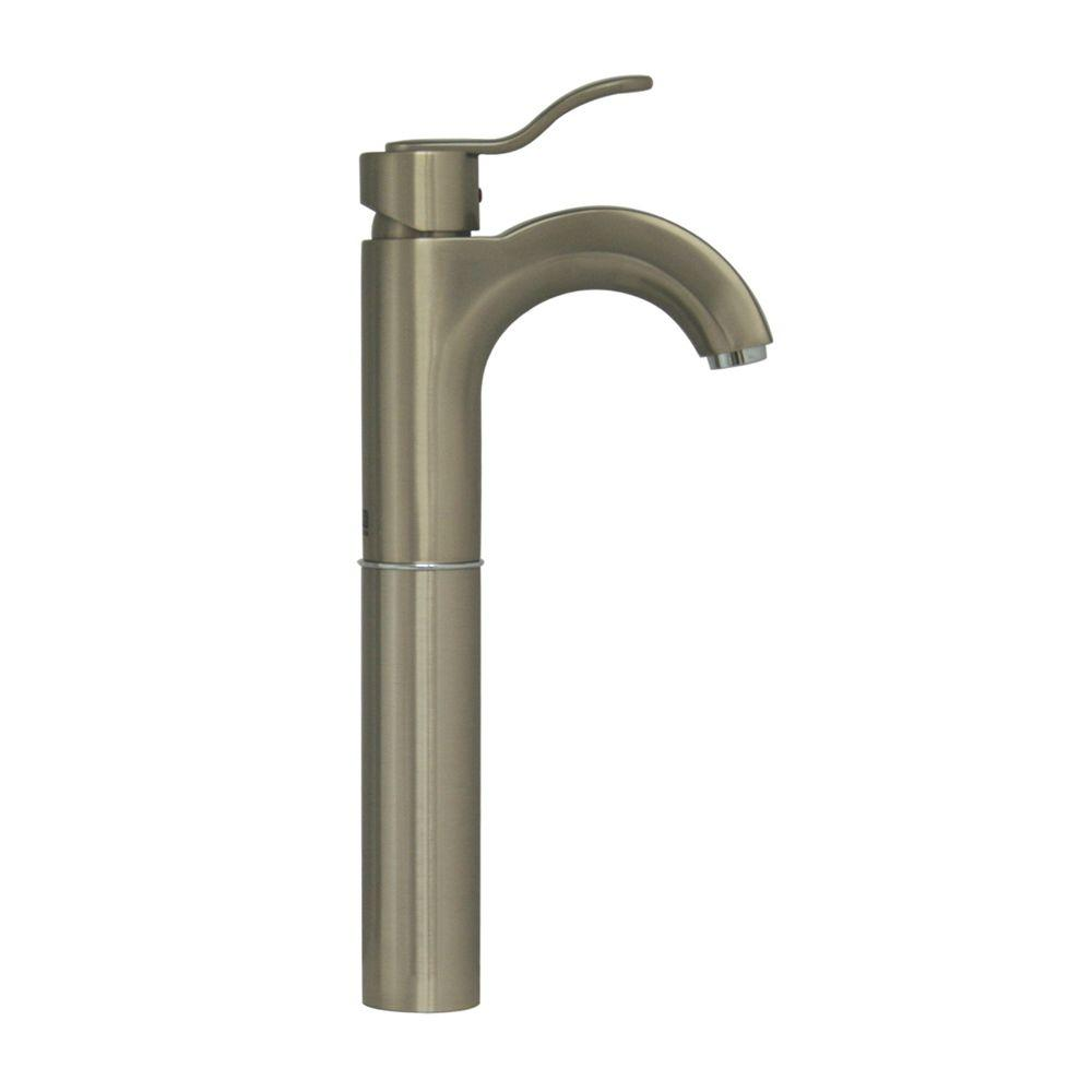 Whitehaus collection single hole 1 handle elevated - Single hole bathroom faucets brushed nickel ...