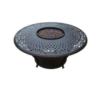 48 in. x 24 in. Cast Aluminum Round Gas Firepit Table with built-in Burner and Weather Fabric Cover