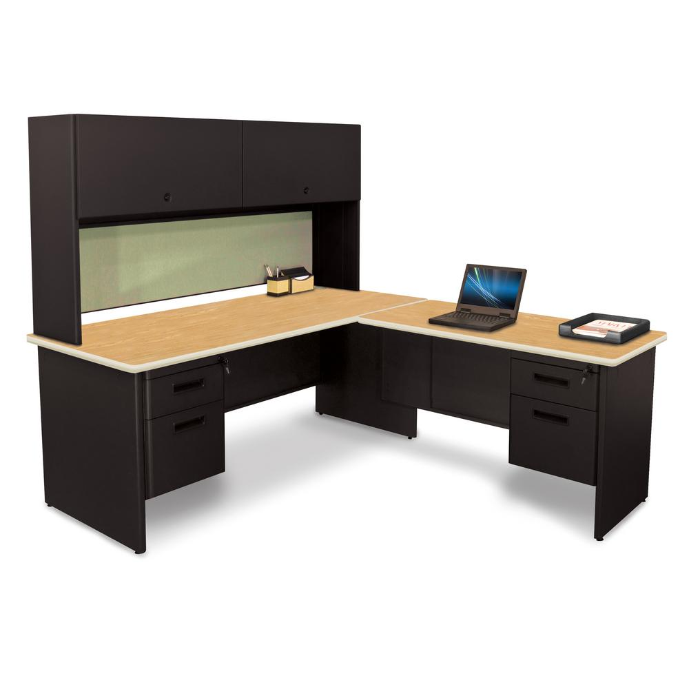 72 in. W x 78 in. D Black, Oak Peridot Desk