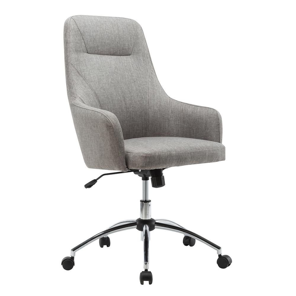 Techni mobili gray comfy height adjustable rolling office for Grey comfy chair