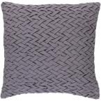 Bendmore Gray Solid Polyester 22 in. x 22 in. Throw Pillow