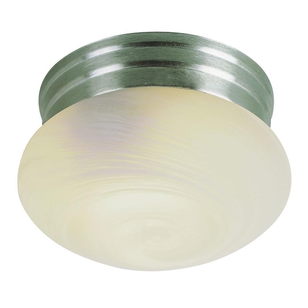 Stewart 1-Light Brushed Nickel Incandescent Ceiling Flushmount