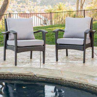 Honolulu Grey Stationary Wicker Outdoor Lounge Chair with Silver Grey Cushion (2-Pack))