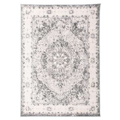 "Traditional Distressed Medallion Area Rug 7'10"" x 10' Gray"