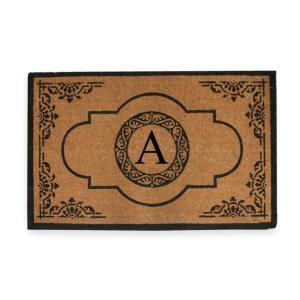 A1HC First Impression Hand Crafted X-Large Abrilina 36 inch x 72 inch Entry Coir Monogrammed Double Door Mat by
