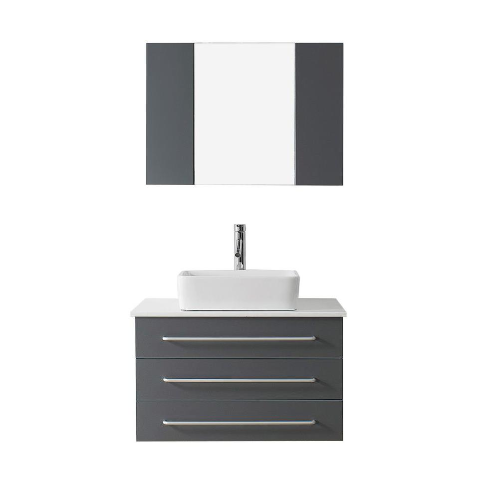 Virtu USA Ivy 32 in. W x 22 in. D Vanity in Grey with Stone Vanity Top in White with White Basin and Mirror