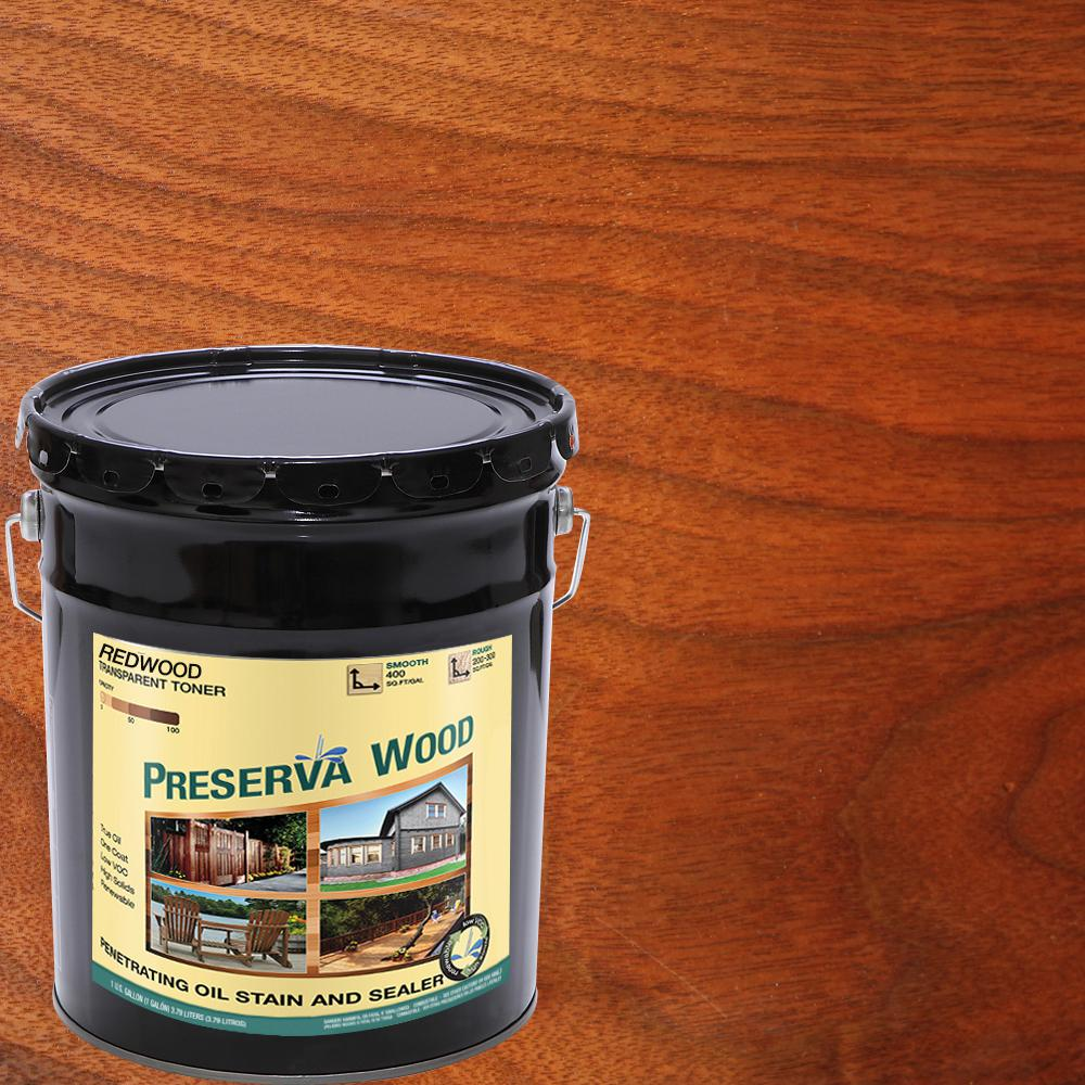 Preserva Wood 5 Gal 100 Voc Oil Based Redwood Penetrating Stain And Sealer 20502 The Home Depot