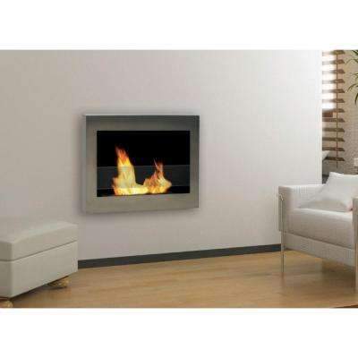 SoHo 28 in. Wall-Mount Vent-Free Ethanol Fireplace in Stainless Steel