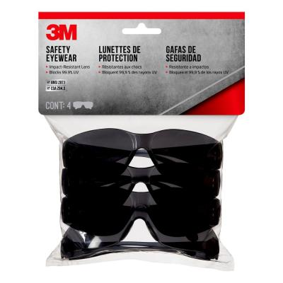 Gray Frame with Gray Scratch Resistant Lenses Outdoor Safety Eyewear Contractor Pack (4-Pack)