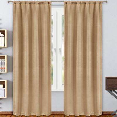 """Solid Taupe Polyester Blackout Rod Pocket Window Curtain 38 in. W x"""" 84 in. L 2-Pack"""