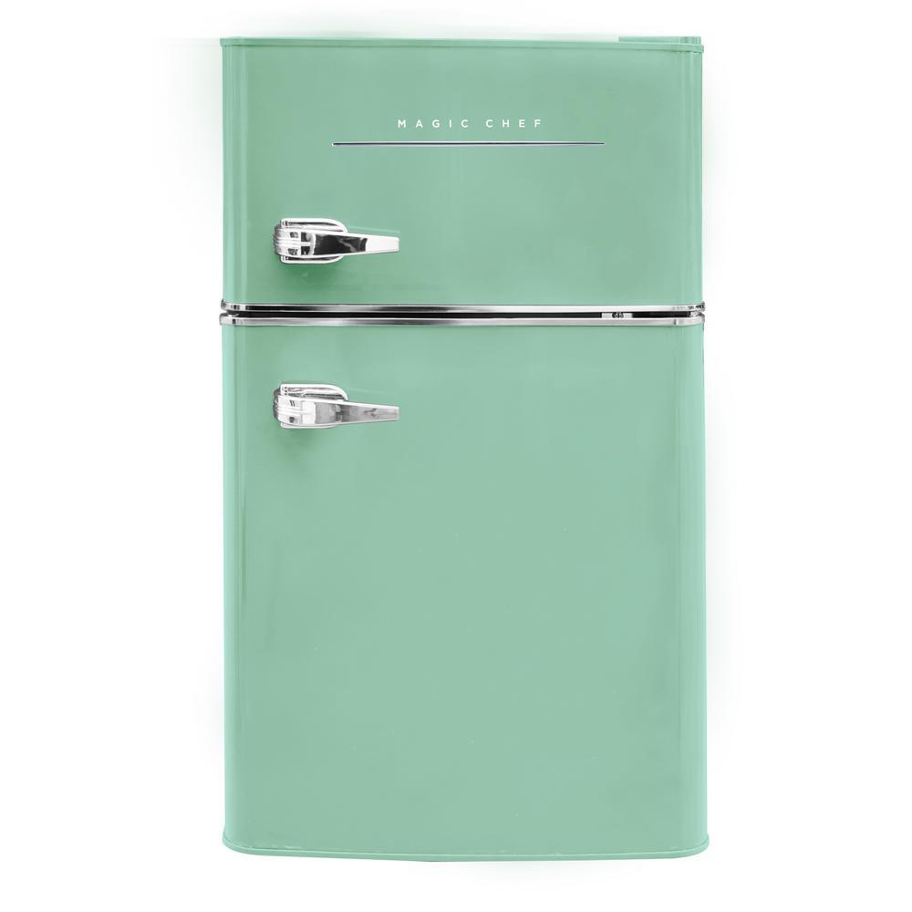 Retro 3.2 cu. ft. 2-Door Mini Refrigerator in Mint Green