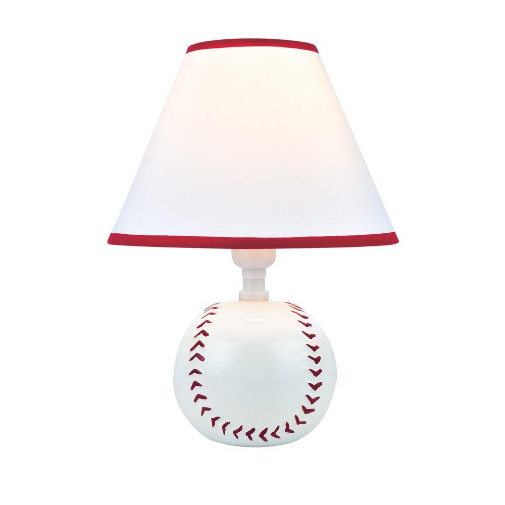 Designer Collection 11.5 in. Baseball Ceramic Table Lamp with White Fabric