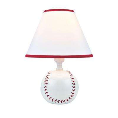 Designer Collection 11.5 in. Baseball Ceramic Table Lamp with White Fabric Shade