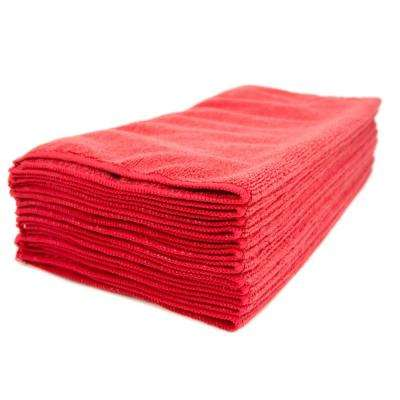 16 in. x 16 in. Red Microfiber Cleaning Towel (48-Pack)