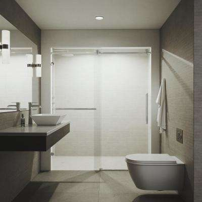 Ferrara 72 in. x 74 in. Frameless Sliding Shower Door in Chrome with Tower Bar