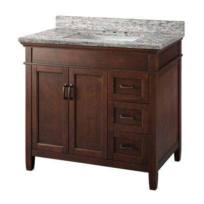 Ashburn 37 in. x 22 in. Vanity in Mahogany with Granite Vanity Top in Santa Cecilia with White Sink