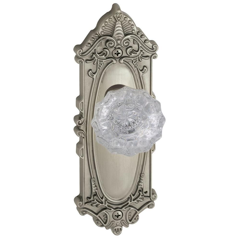 Grandeur Grande Victorian Satin Nickel Plate with Privacy Versailles Crystal Knob