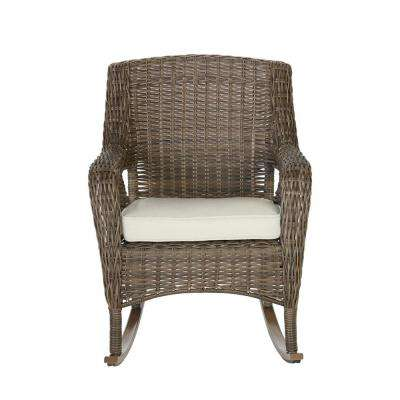 Cambridge Grey Wicker Outdoor Rocking Chair with Cushions Included, Choose Your Own Color