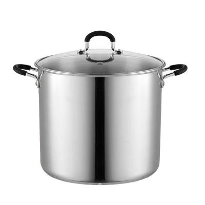 12 qt. Stainless Steel Stock Pot in Black and Stainless Steel with Glass Lid