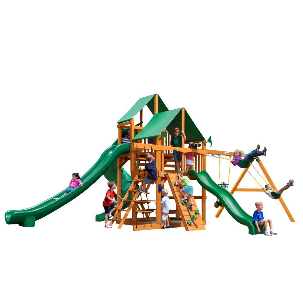 Maintenance Free Vinyl Outdoor Playsets: Gorilla Playsets Chateau With Timber Shield And Sunbrella