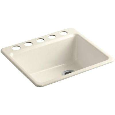 Riverby Undermount Cast-Iron 25 in. 5-Hole Single Bowl Kitchen Sink Kit with Bowl Rack in Almond