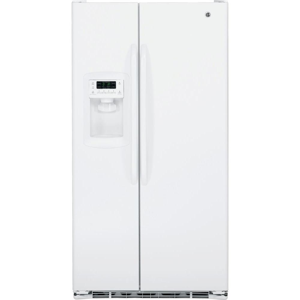 GE 22.7 cu. ft. Side by Side Refrigerator in White, Counter Depth