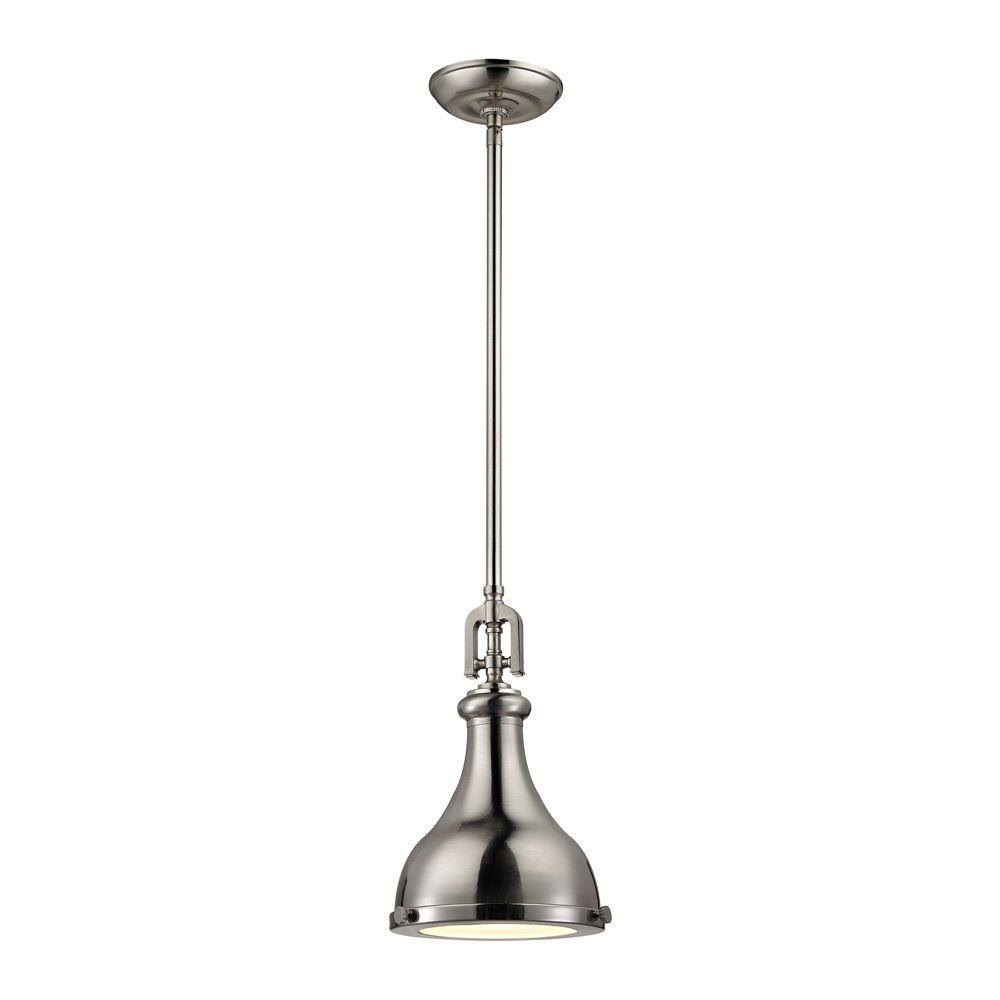 Titan Lighting Rutherford 1-Light Brushed Nickel Pendant