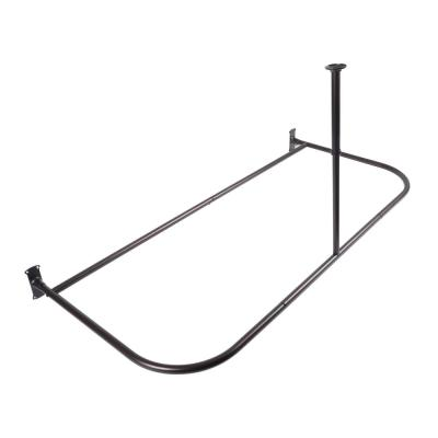 60 in. Rustproof Aluminum D-Shape Shower Rod with Ceiling Support for Freestanding Tubs