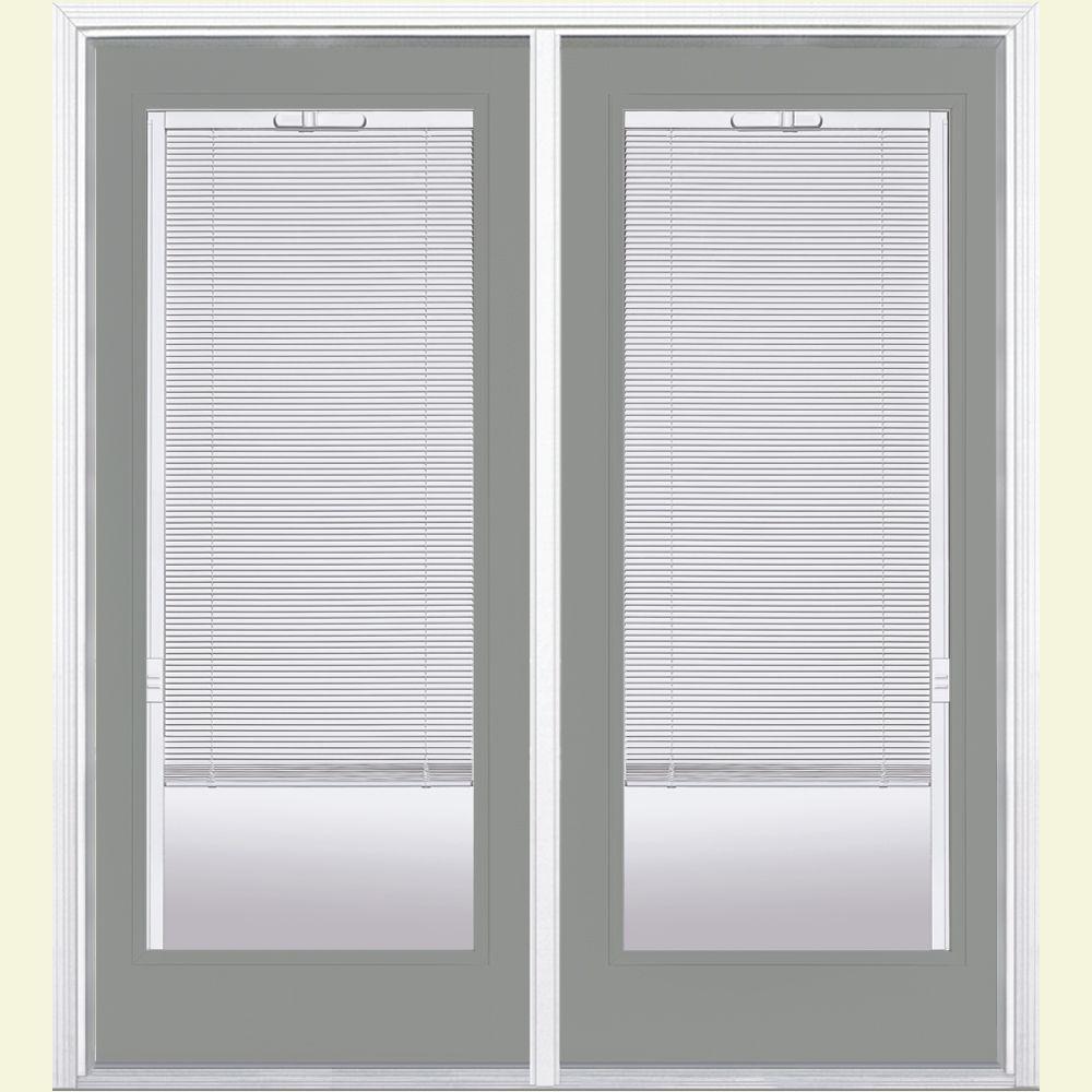 72 in. x 80 in. Silver Cloud Fiberglass Prehung Right-Hand Inswing Mini Blind Patio Door w/ Brickmold, Vinyl Frame