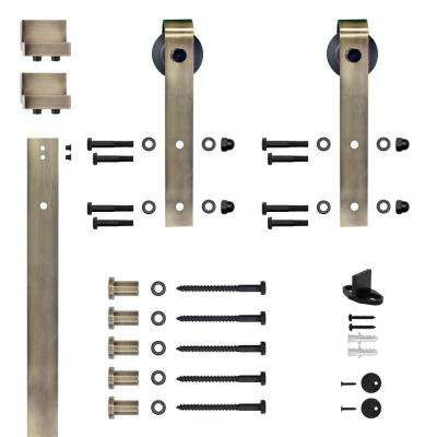 Soft Close Hook Strap Antique Brass Rolling Barn Door Hardware Kit with 2-3/4 in. Wheel