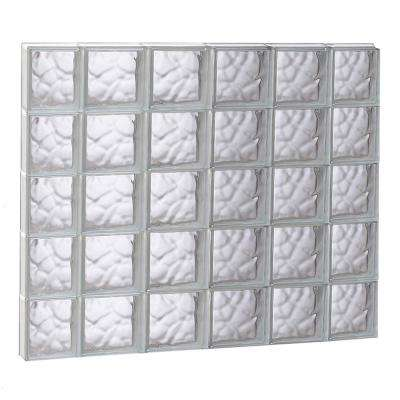 42.5 in. x 38.75 in. x 3.125 in. Wave Pattern Non-Vented Glass Block Window