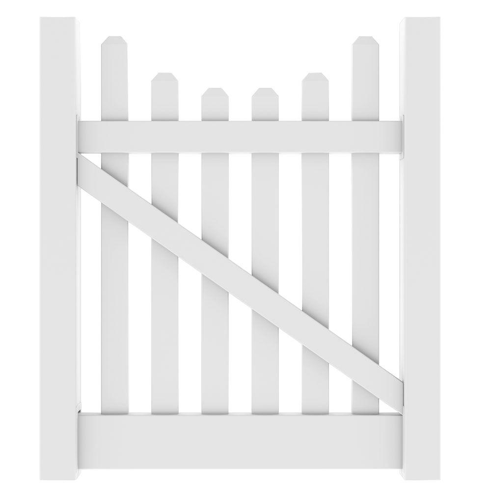 Veranda 4 ft. W x 4 ft. H Kettle Scallop White Walk Gate Kit