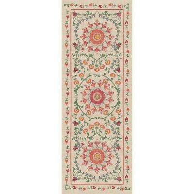Washable Suzi Coral 3 ft. x 7 ft. Runner Rug