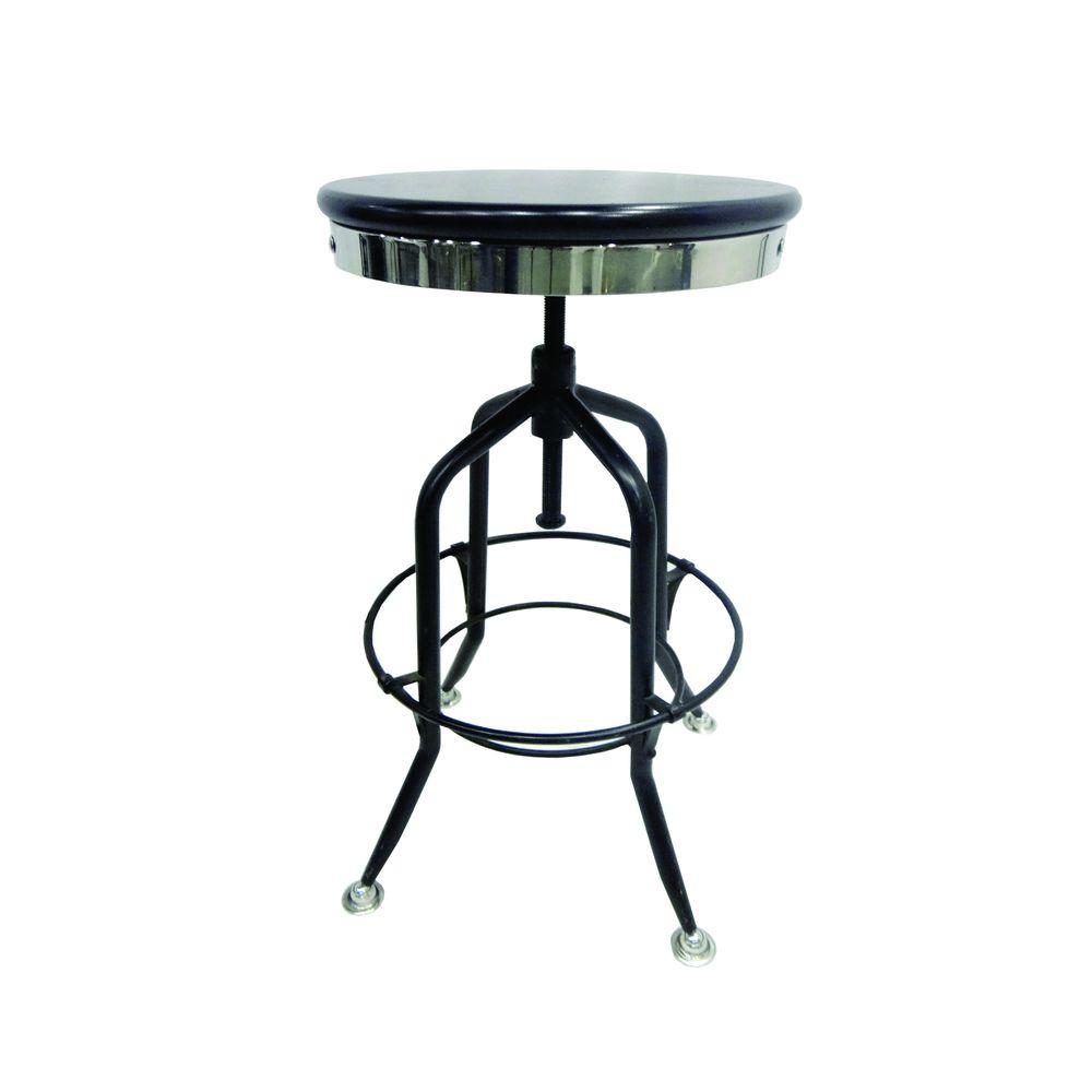 Yosemite Home Decor Adjustable Mango Wood Bar Stool In Black Yfur Amyost45bk The Home Depot