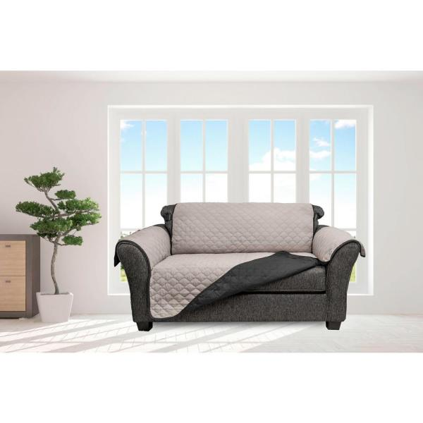 Jameson Silver and Black Reversible Waterproof Microfiber Loveseat Cover with Elastic Buckle