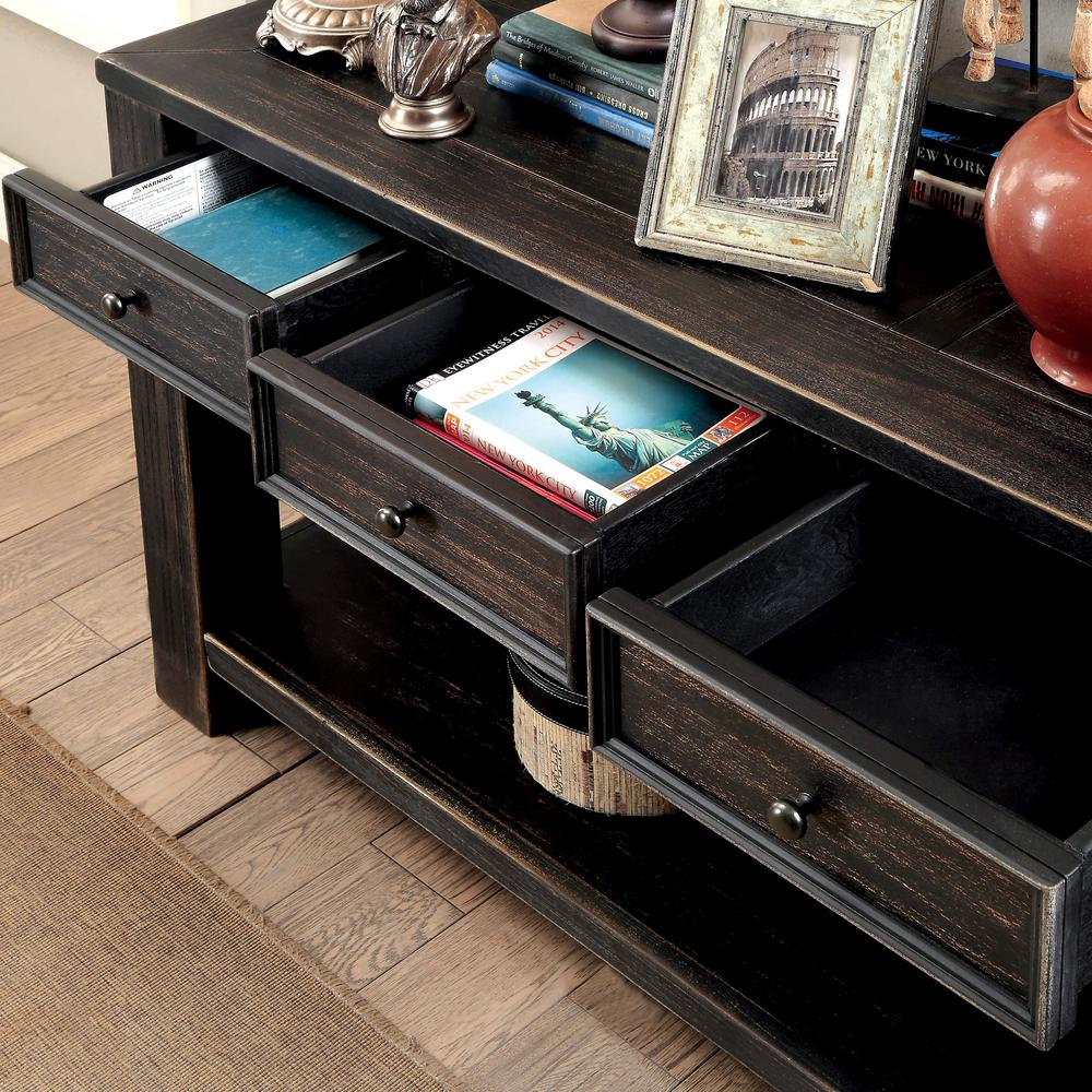 Jerry Antique Black 4-Drawer Sofa Table