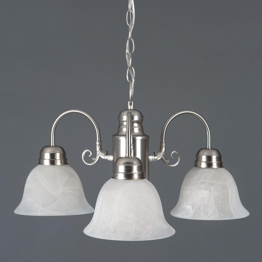 Manzanita Collection 3-Light Satin Nickel Hanging Chandelier with Marble Glass