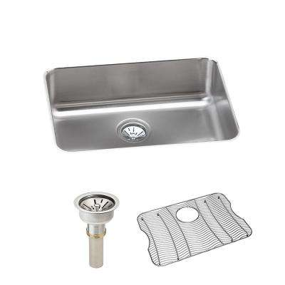 Lustertone Undermount Stainless Steel 26 in. Single Bowl Kitchen Sink with Drain and Bottom Grid
