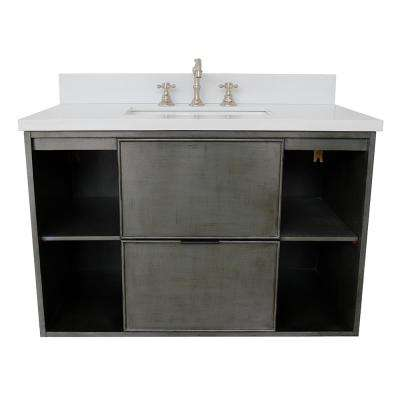 Scandi III 37 in. W x 22 in. D Wall Mount Bath Vanity in Gray with Quartz Vanity Top in White with White Rectangle Basin