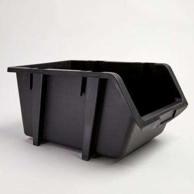 9-1/4 in. Stacking and Nesting Storage Bin, Black (4-Pack)