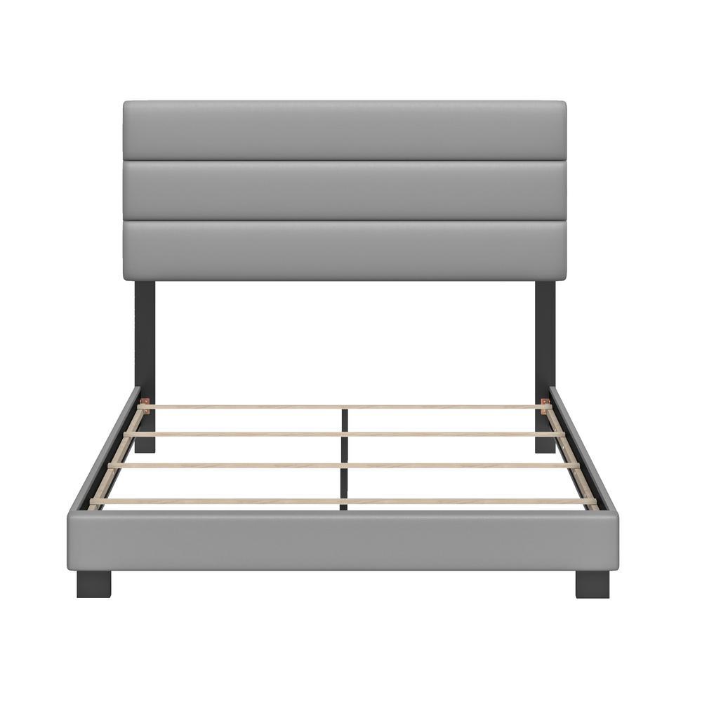 Vivian Faux Leather Grey Queen Upholstered Platform Bed Frame