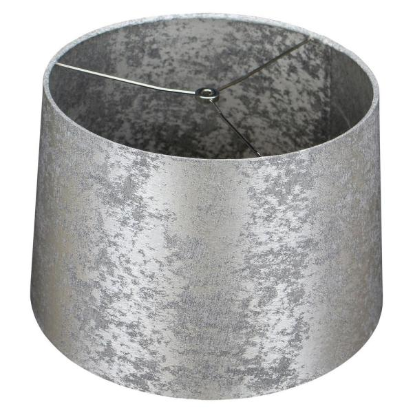 Fenchel Shades 13 in. Top Diameter x 15 in. Bottom Diameter x 10 in. Slant Empire Lamp Shade - Couture Crushed Sterling