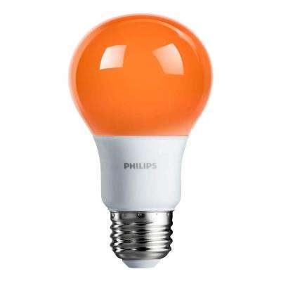 60-Watt Equivalent A19 Non-Dimmable Orange LED Colored Light Bulb