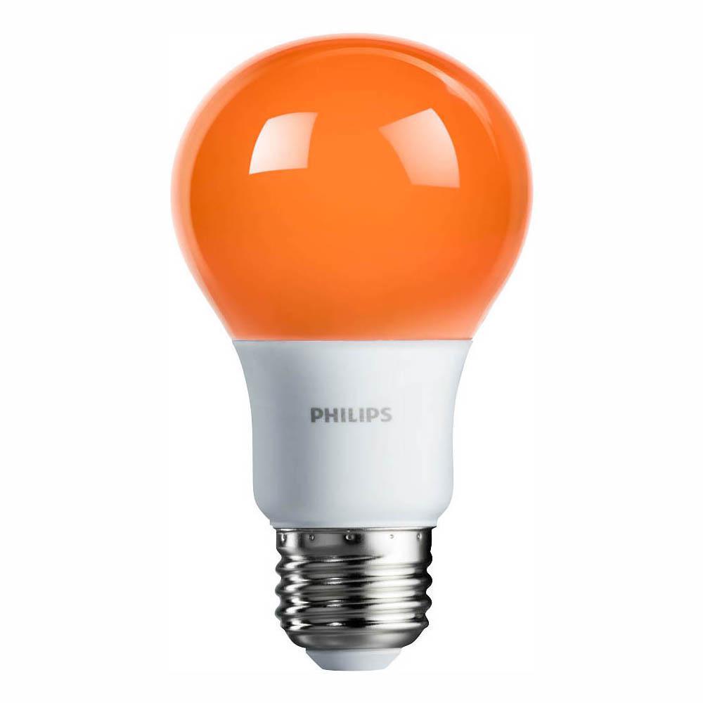 60-Watt Equivalent A19 Non-Dimmable Orange LED Colored Light Bulb