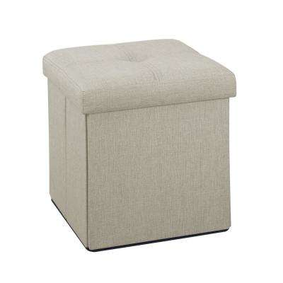 Ivory Linen Look Single Folding Ottoman